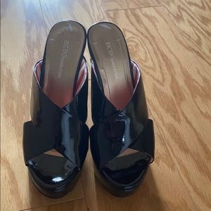 BCBGeneration Black Patent Leather wedge sandals